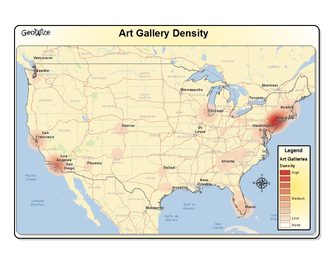 Art Gallery Density in the US