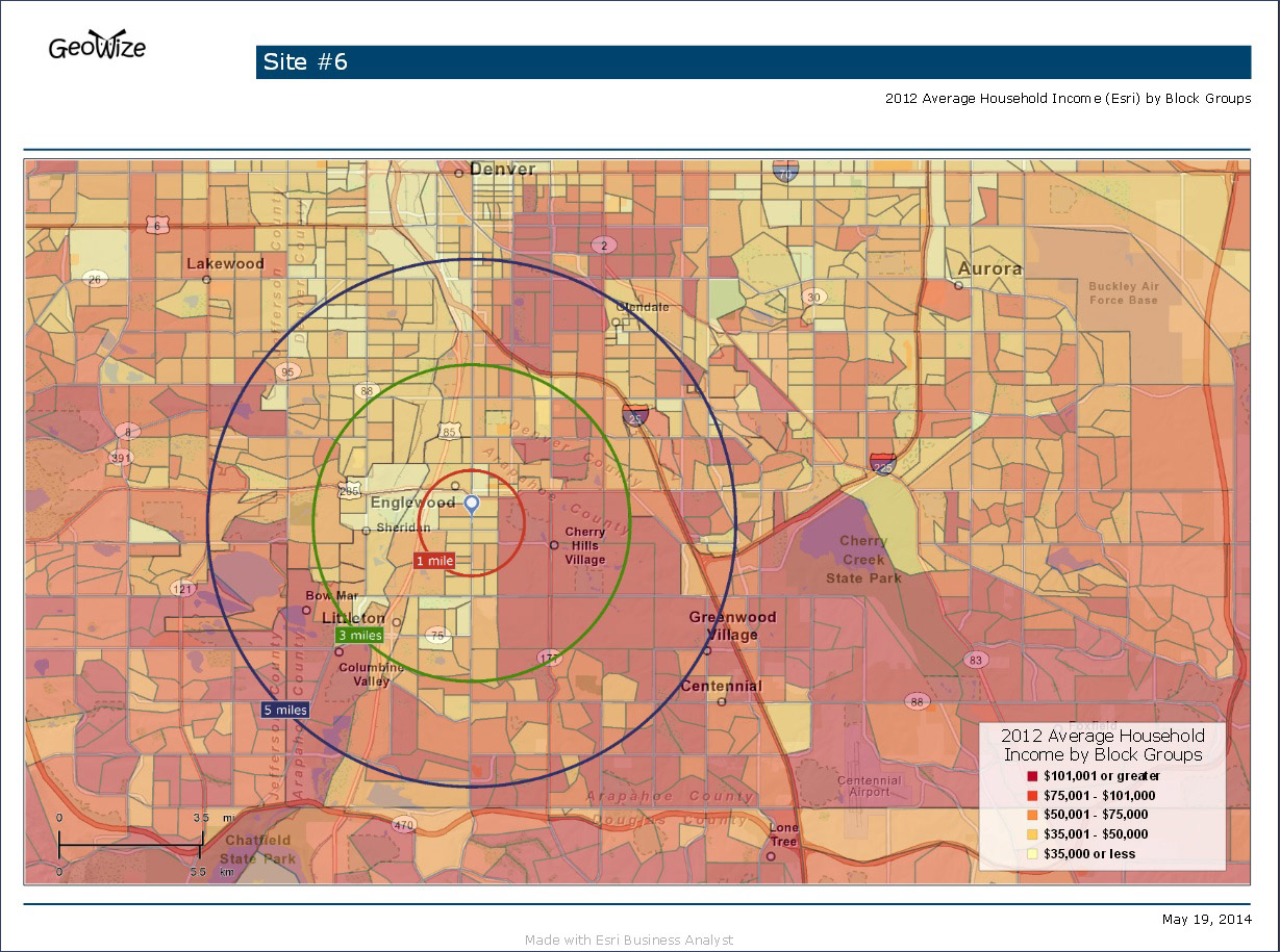 Potential business location site map showing 1, 3, 5 mile radius with average household income overlay